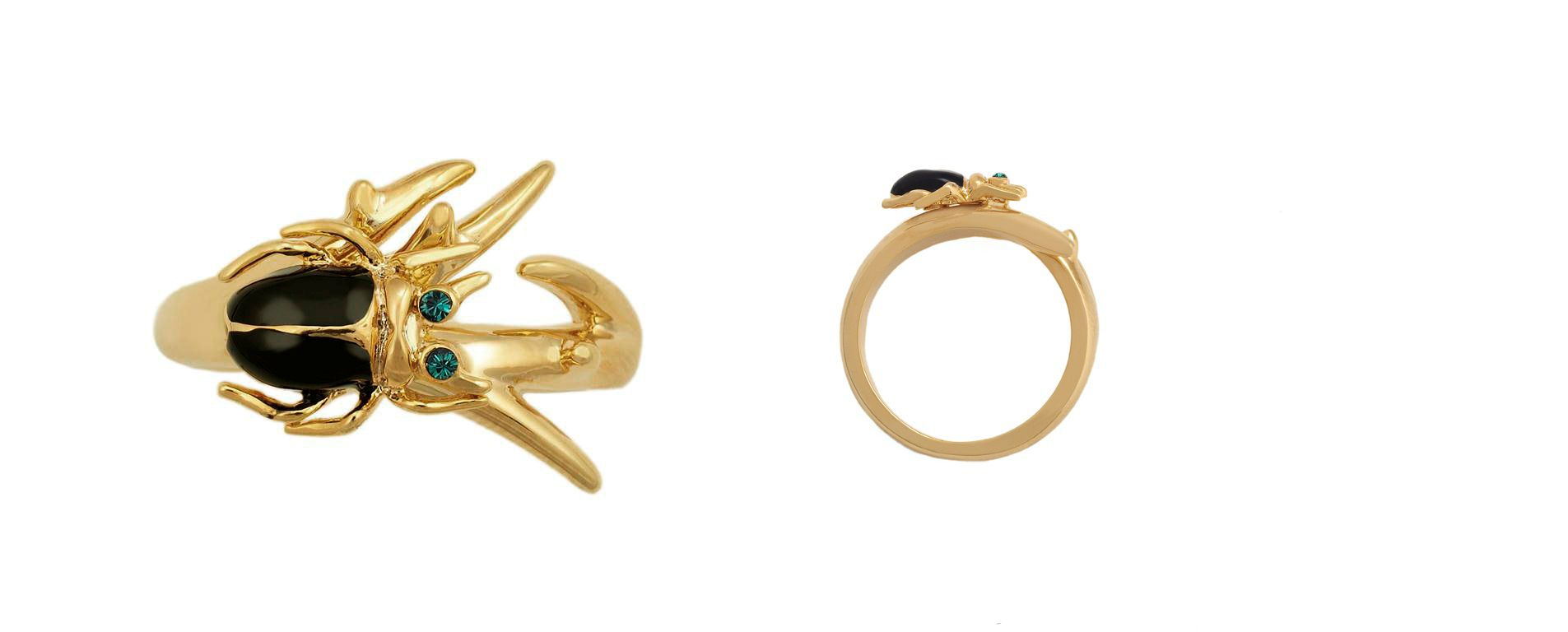 Yellow gold crystal beetle ring