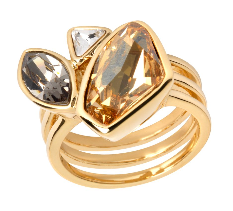 18ct gold plated multi fancy cut ring