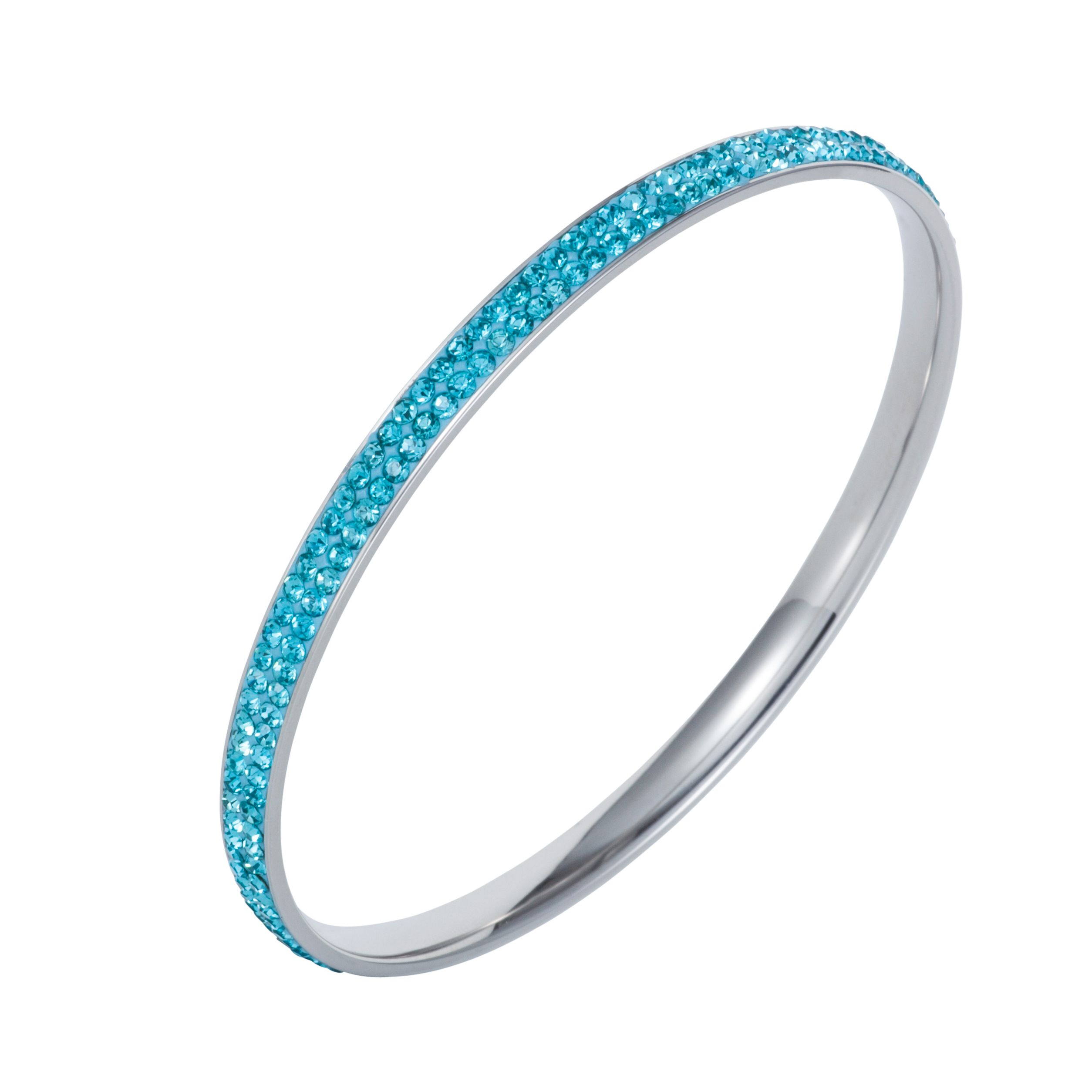 Stainless steel cubic zirconia turquoise bangle