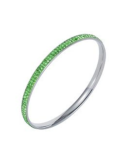 Stainless steel cubic zirconia green bangle
