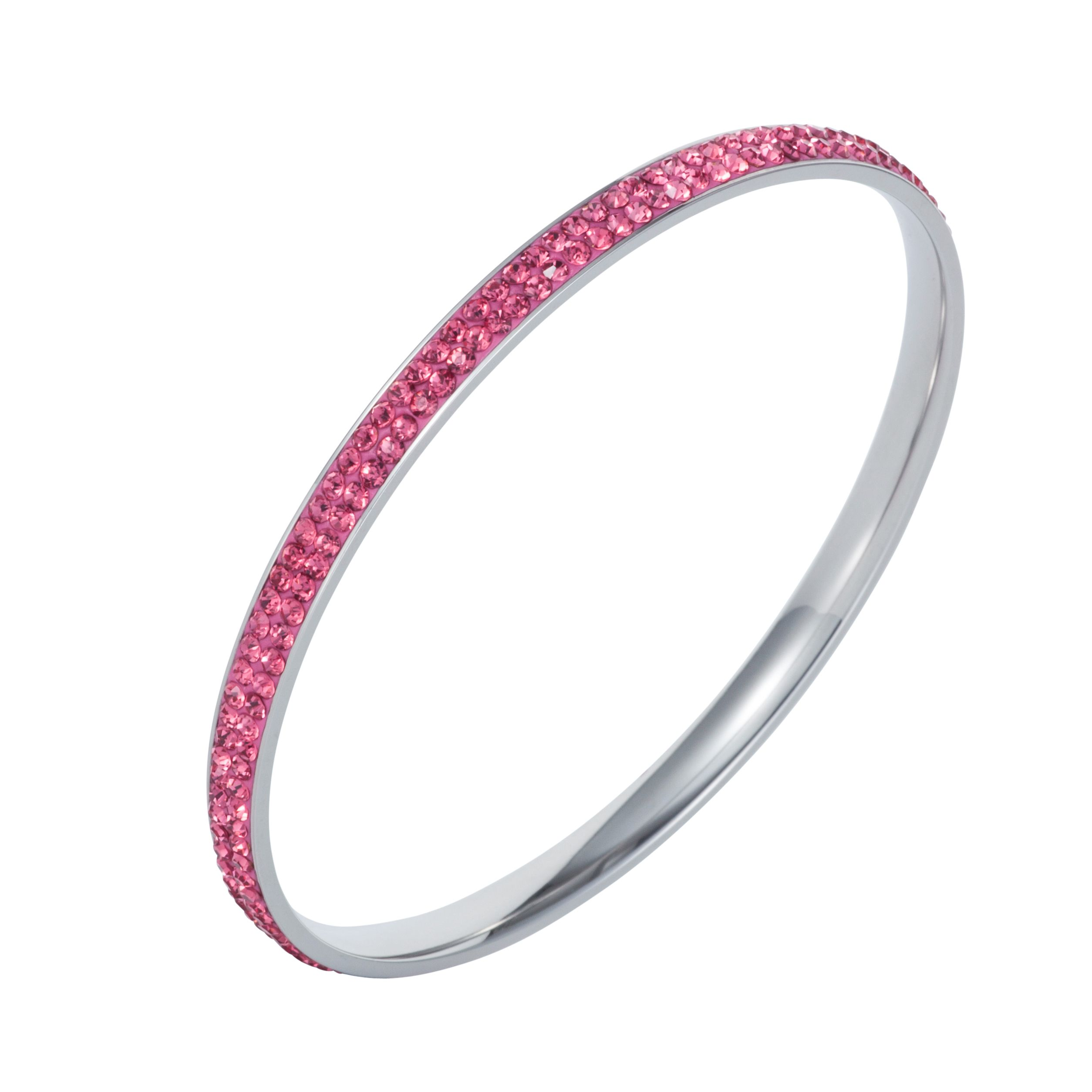 Stainless steel cubic zirconia pink bangle