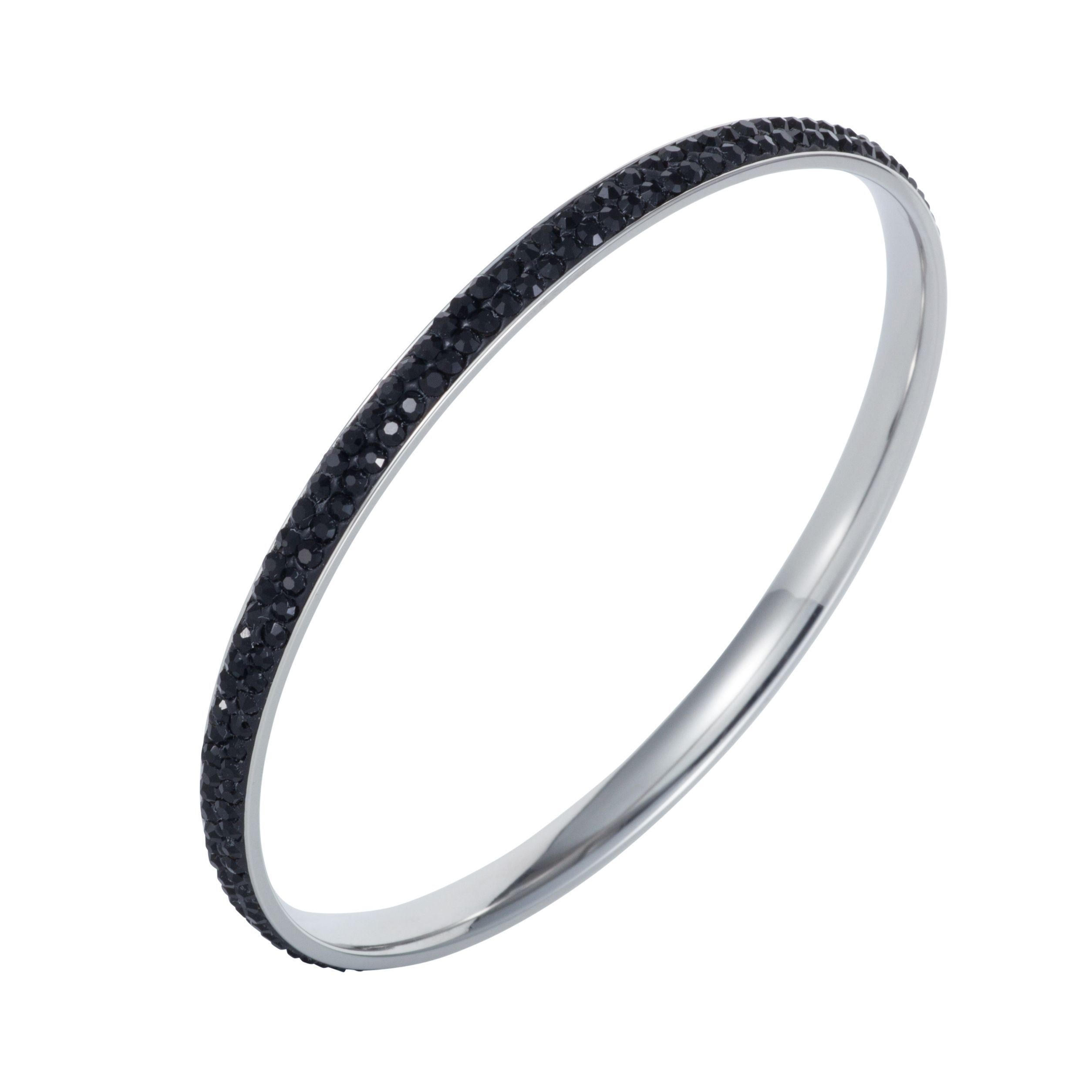 Stainless steel cubic zirconia black bangle
