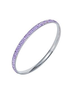 Stainless steel cubic zirconia violet bangle