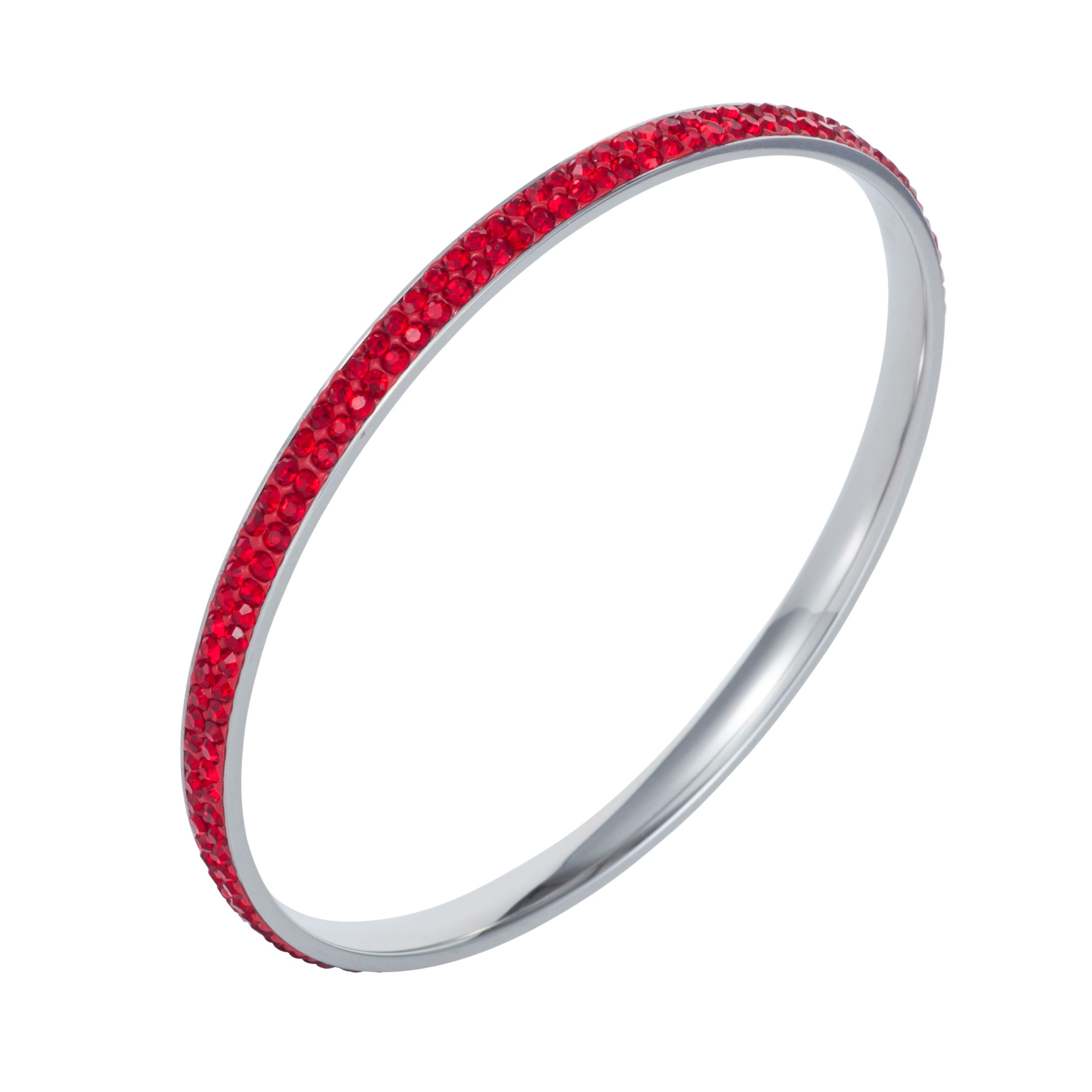 Stainless steel cubic zirconia red bangle