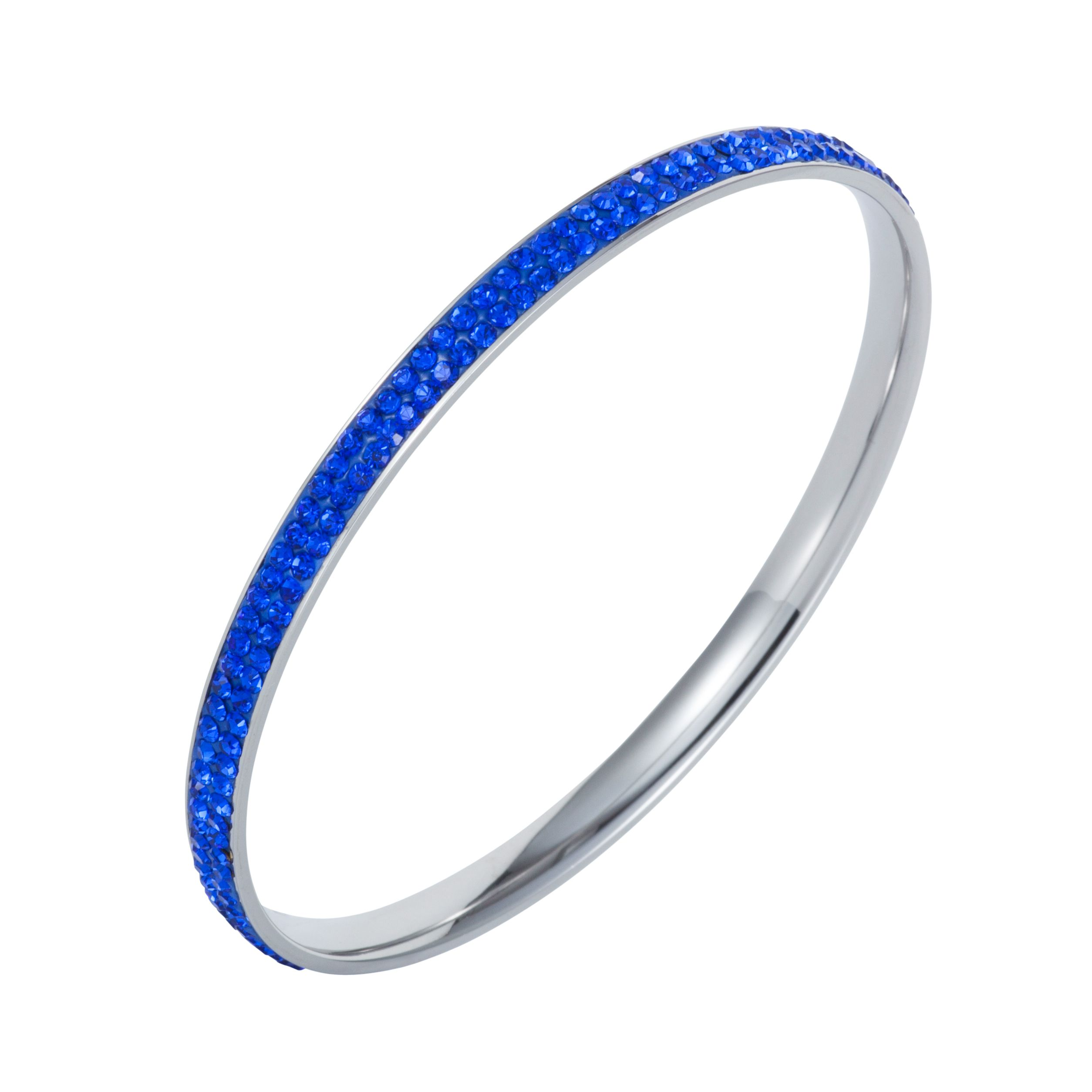 Stainless steel cubic zirconia sapphire bangle