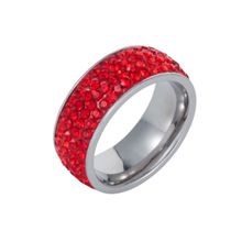Stainless steel cubic zirconia red ring