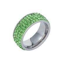 Stainless steel cubic zirconia green ring