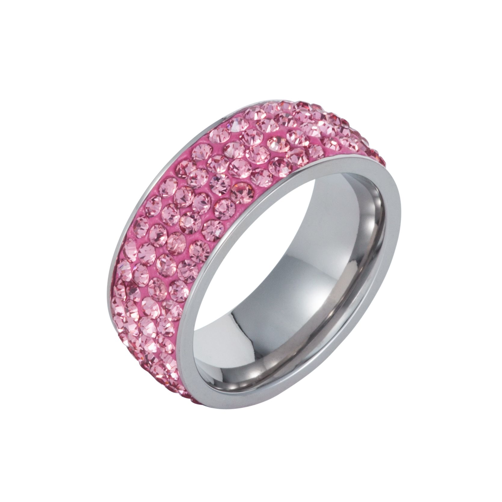 Stainless steel cubic zirconia pink ring