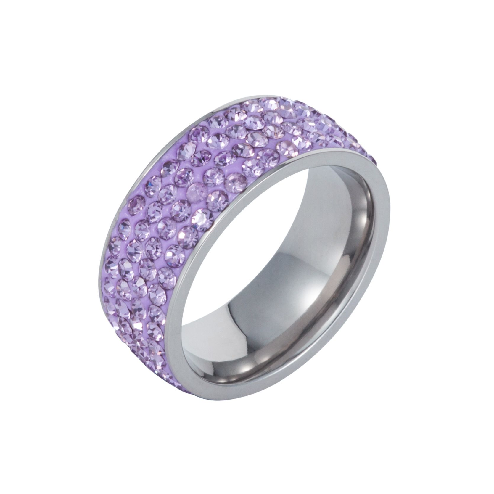Stainless steel cubic zirconia violet ring