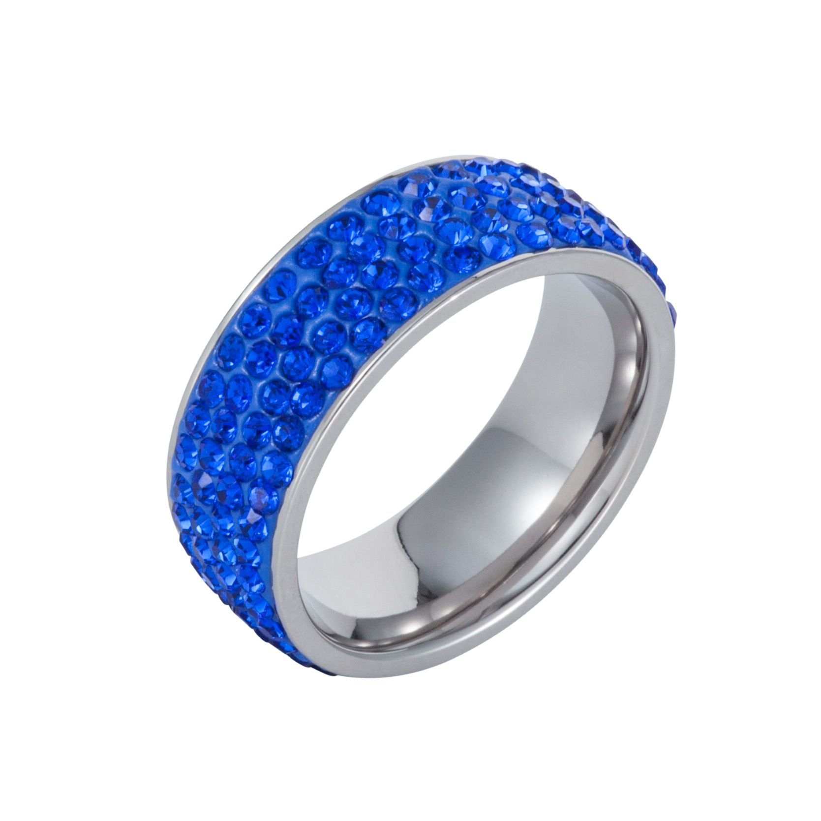 Stainless steel cubic zirconia sapphire ring