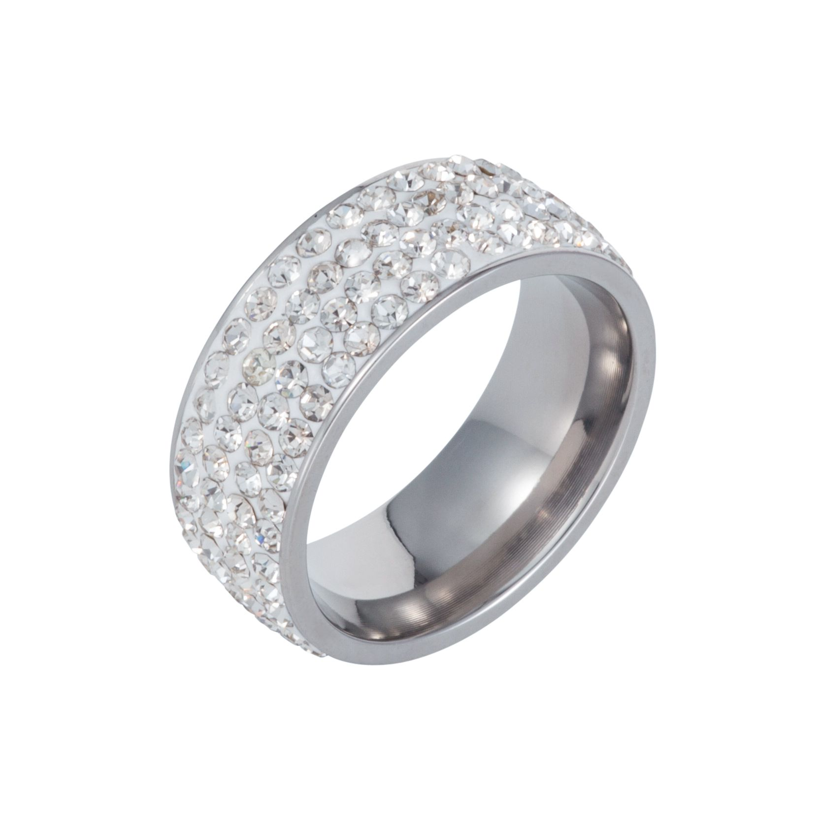 Stainless steel cubic zirconia white ring