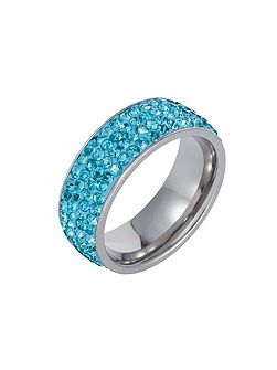 Stainless steel cubic zirconia turquoise ring