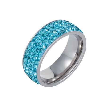 Aurora Flash Stainless steel cubic zirconia turquoise ring
