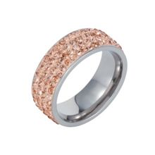Stainless steel cubic zirconia champagne ring