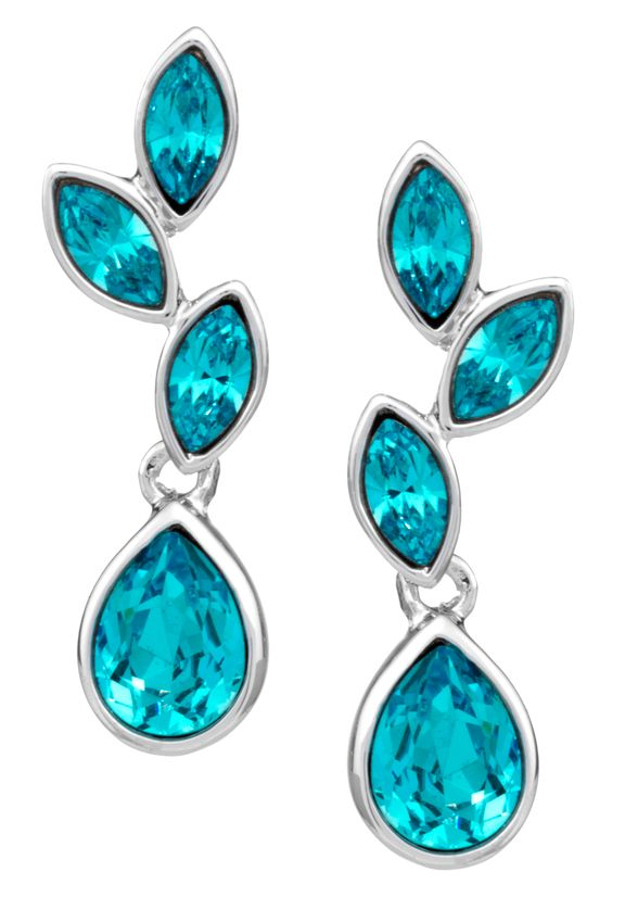 18ct gold plated aquamarine small leaf earring