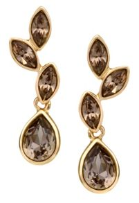 18ct gold plated greige small leaf earring