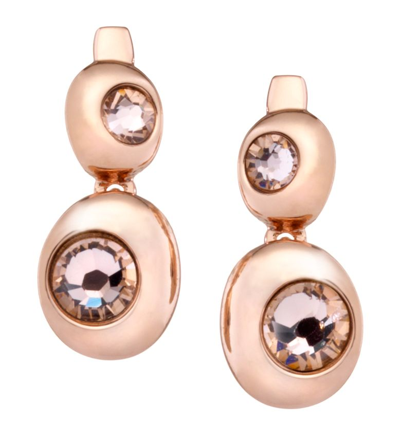 18ct rose gold plated double moon earring