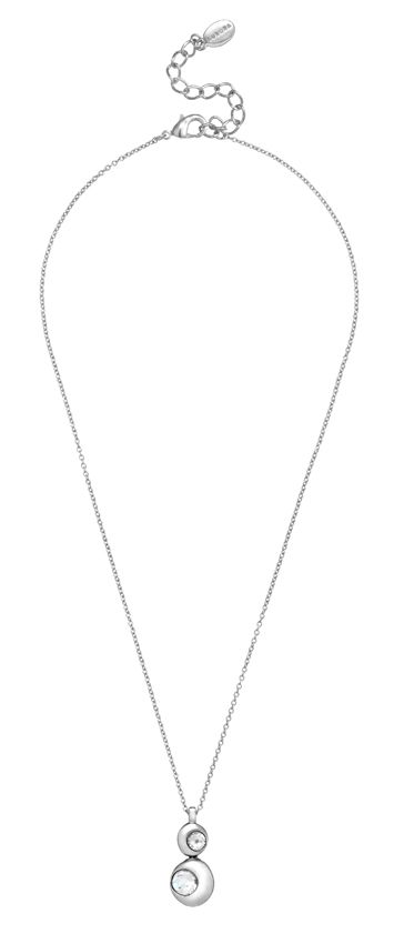 18ct white gold plated double moon pendant