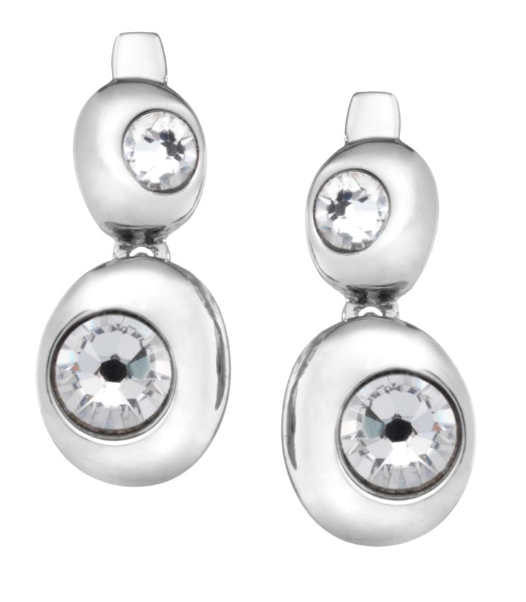 18ct white gold plated double moon earring