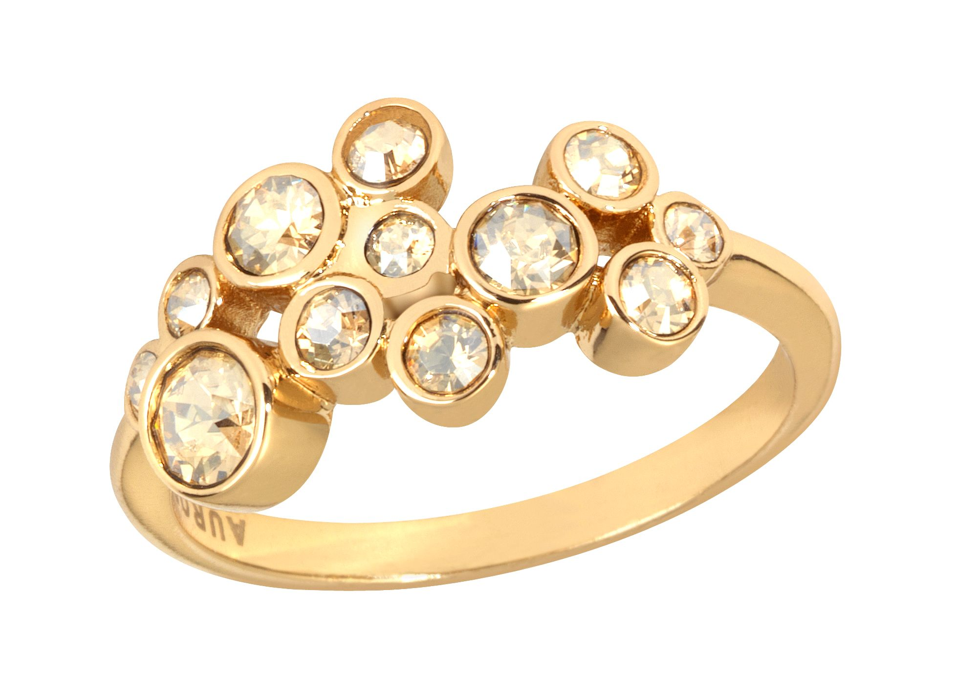 18ct gold plated multiround ring
