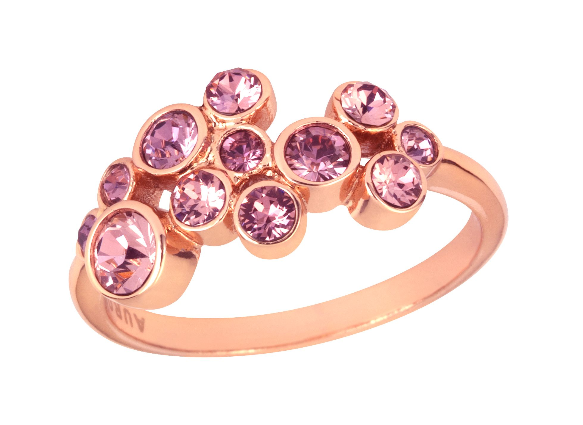 18ct rose gold plated multiround ring