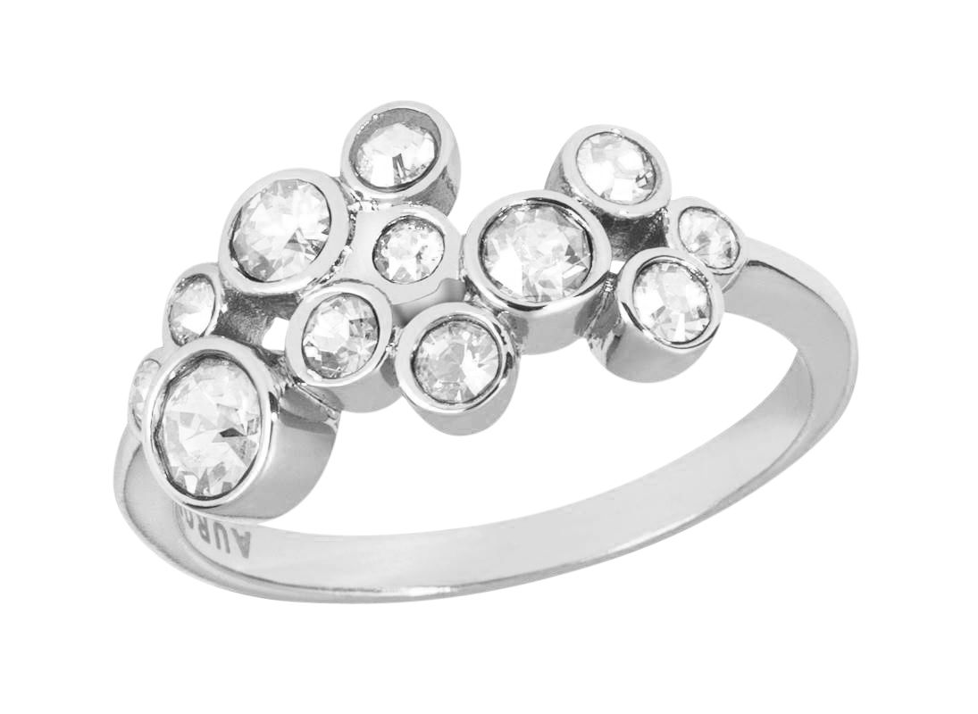 18ct white gold plated multiround ring