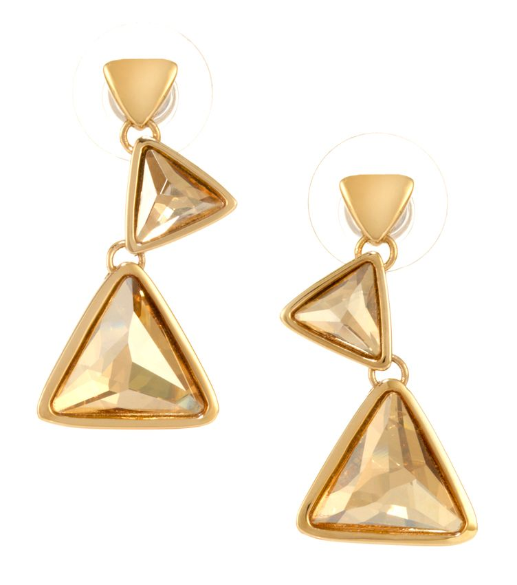 18ct Gold Plated Triangle Earring
