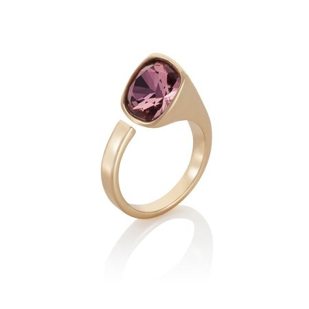 Aurora 18ct yellow gold plated Cut pink Kailua ring