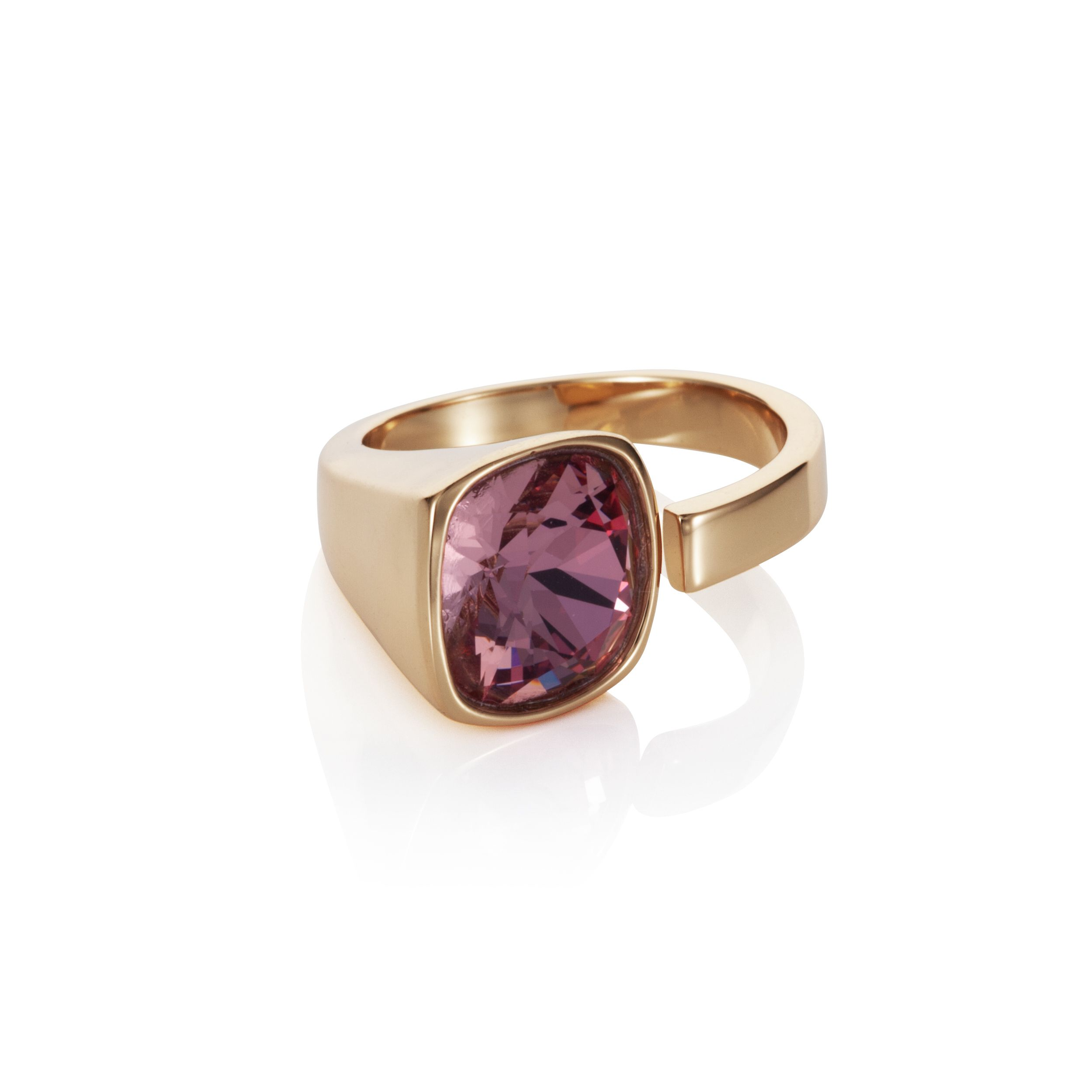 18ct yellow gold plated Cut pink Kailua ring