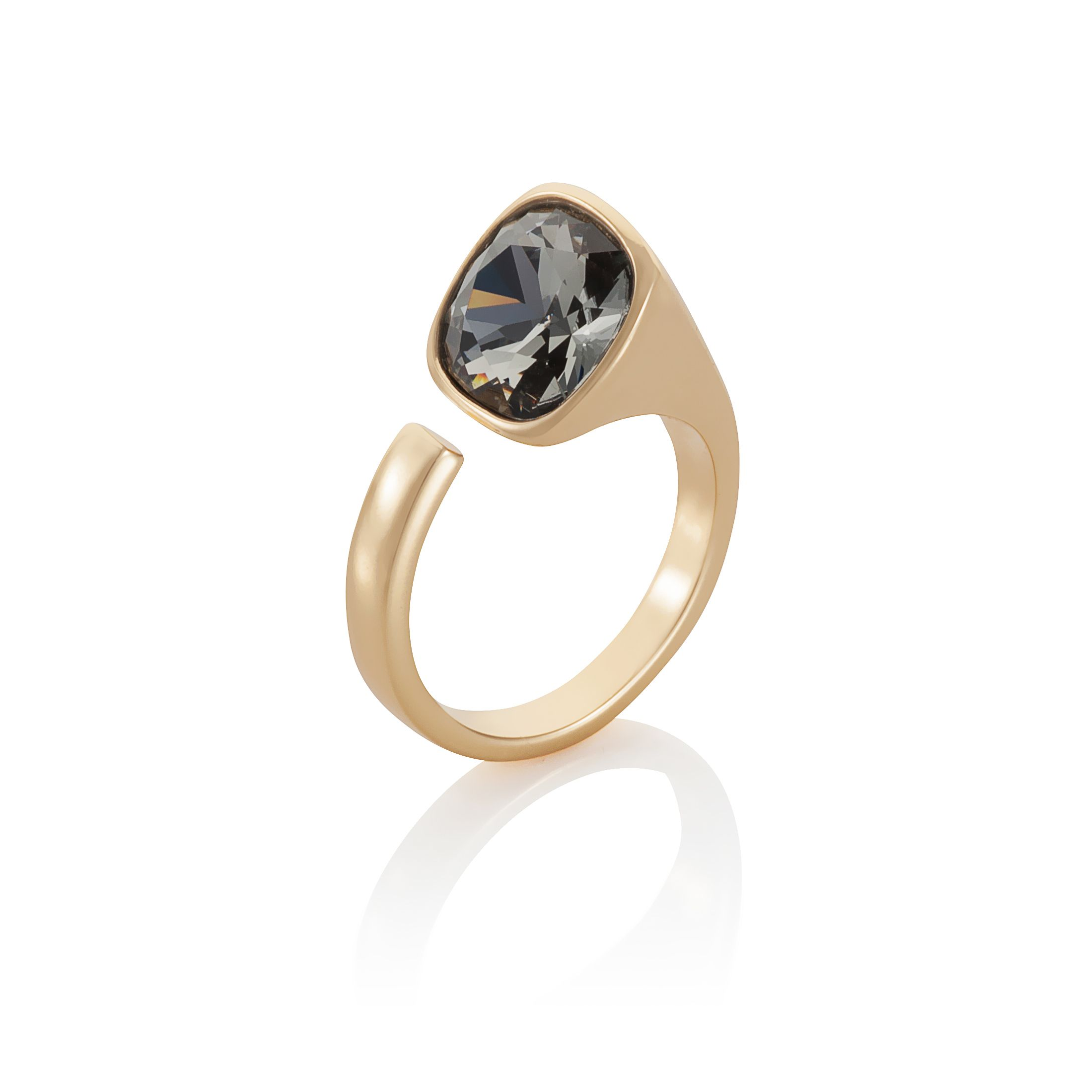 18ct yellow gold plated Cut black Kailua ring