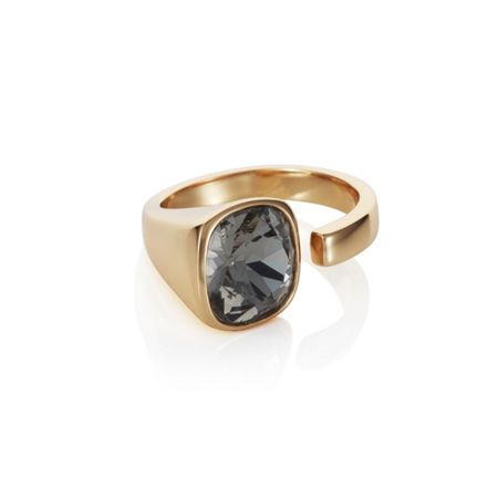 Aurora 18ct yellow gold plated Cut black Kailua ring