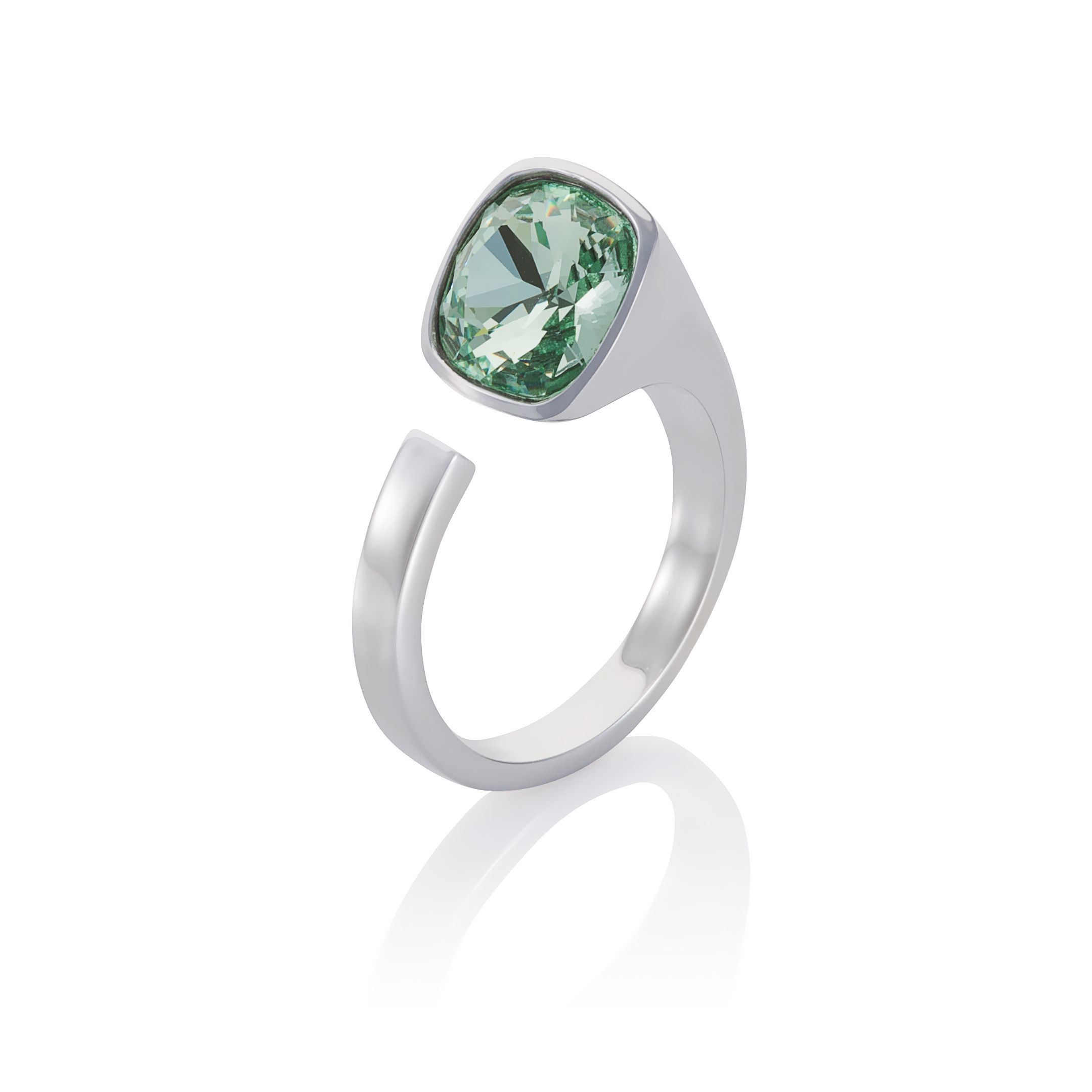18ct white gold plated Cut green Kailua ring