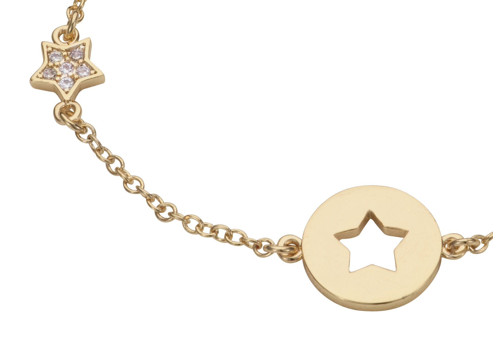 Yellow gold plated cut out star bracelet