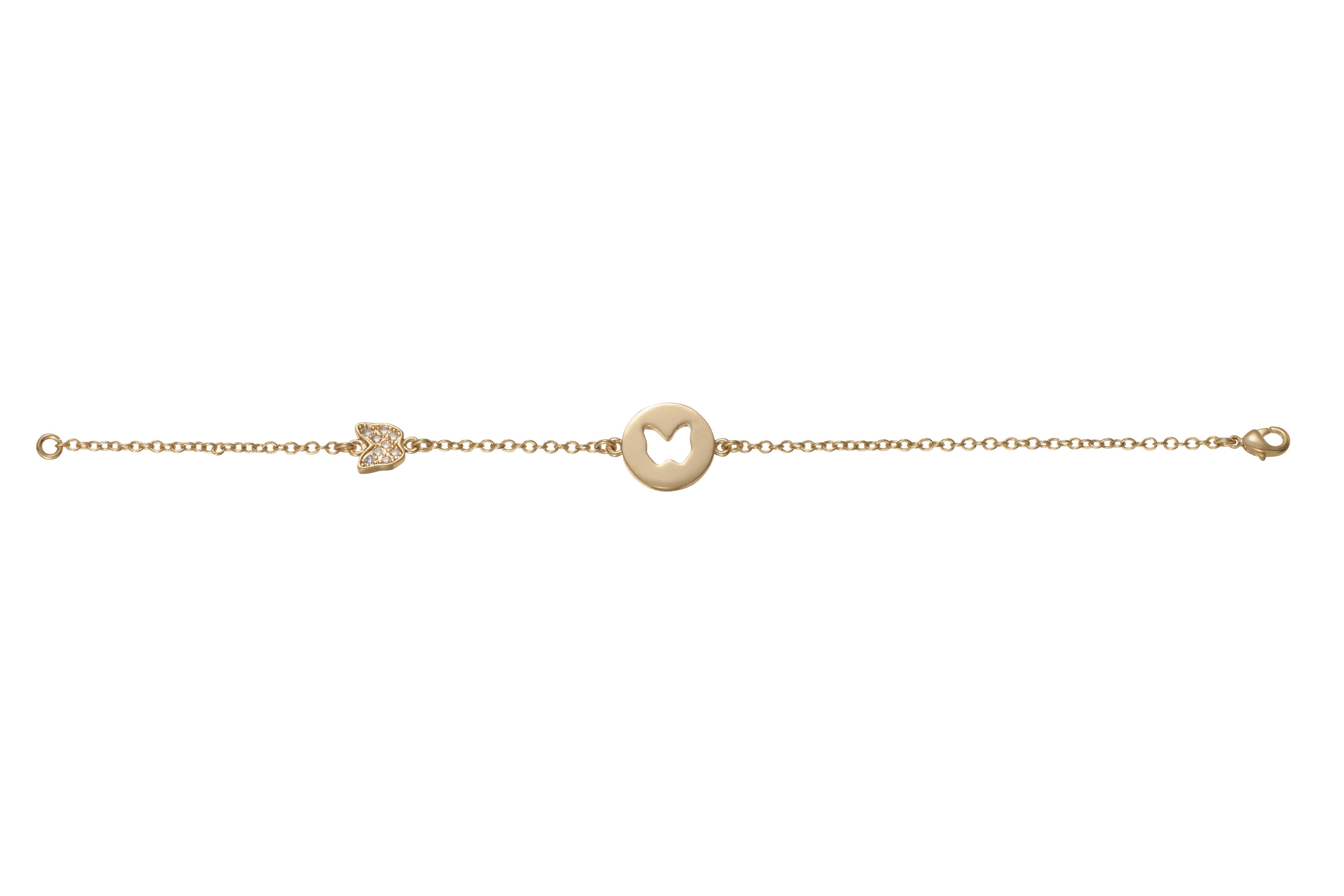 Yellow gold plated cut out butterfly bracelet