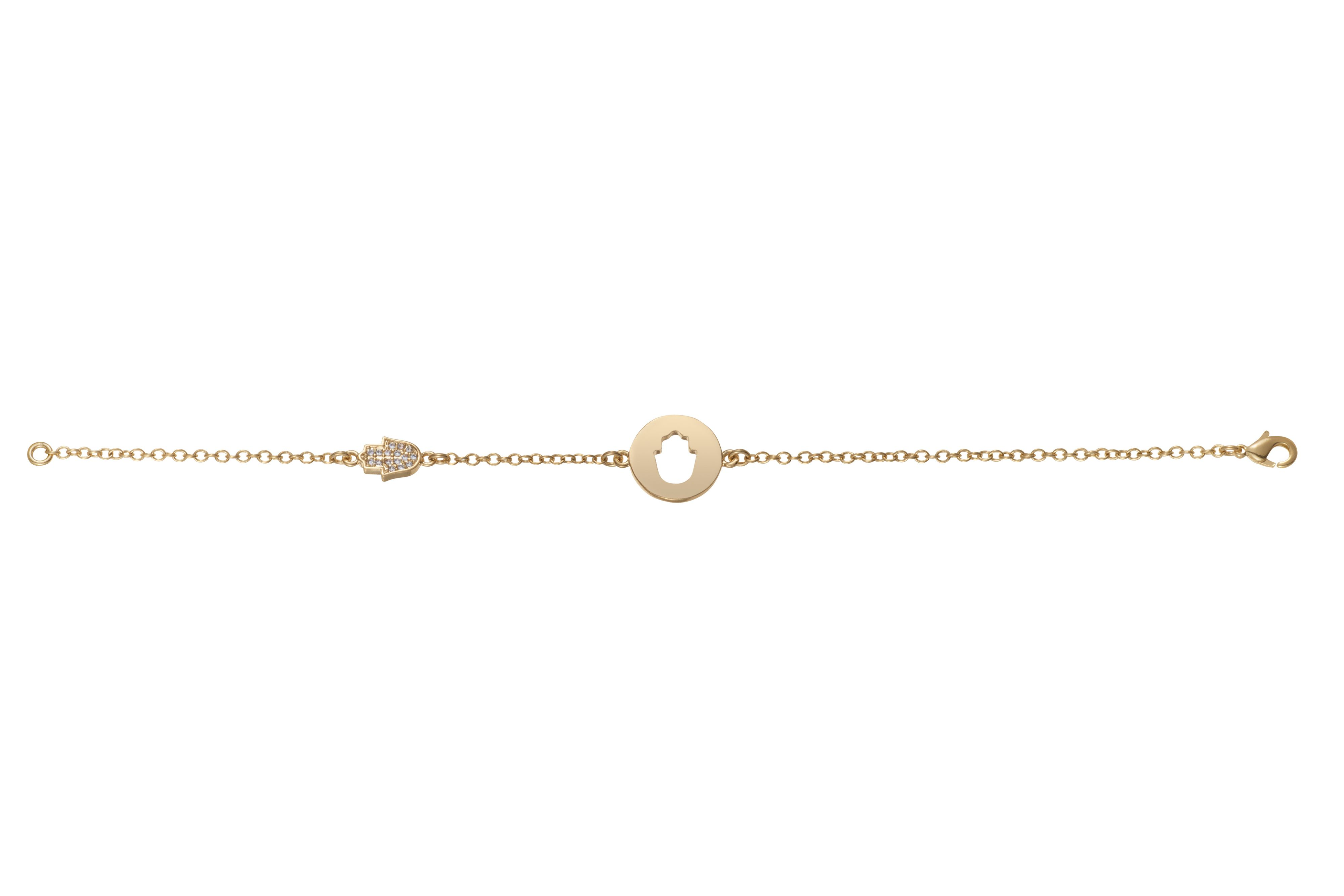 Yellow gold plated cut out hand bracelet