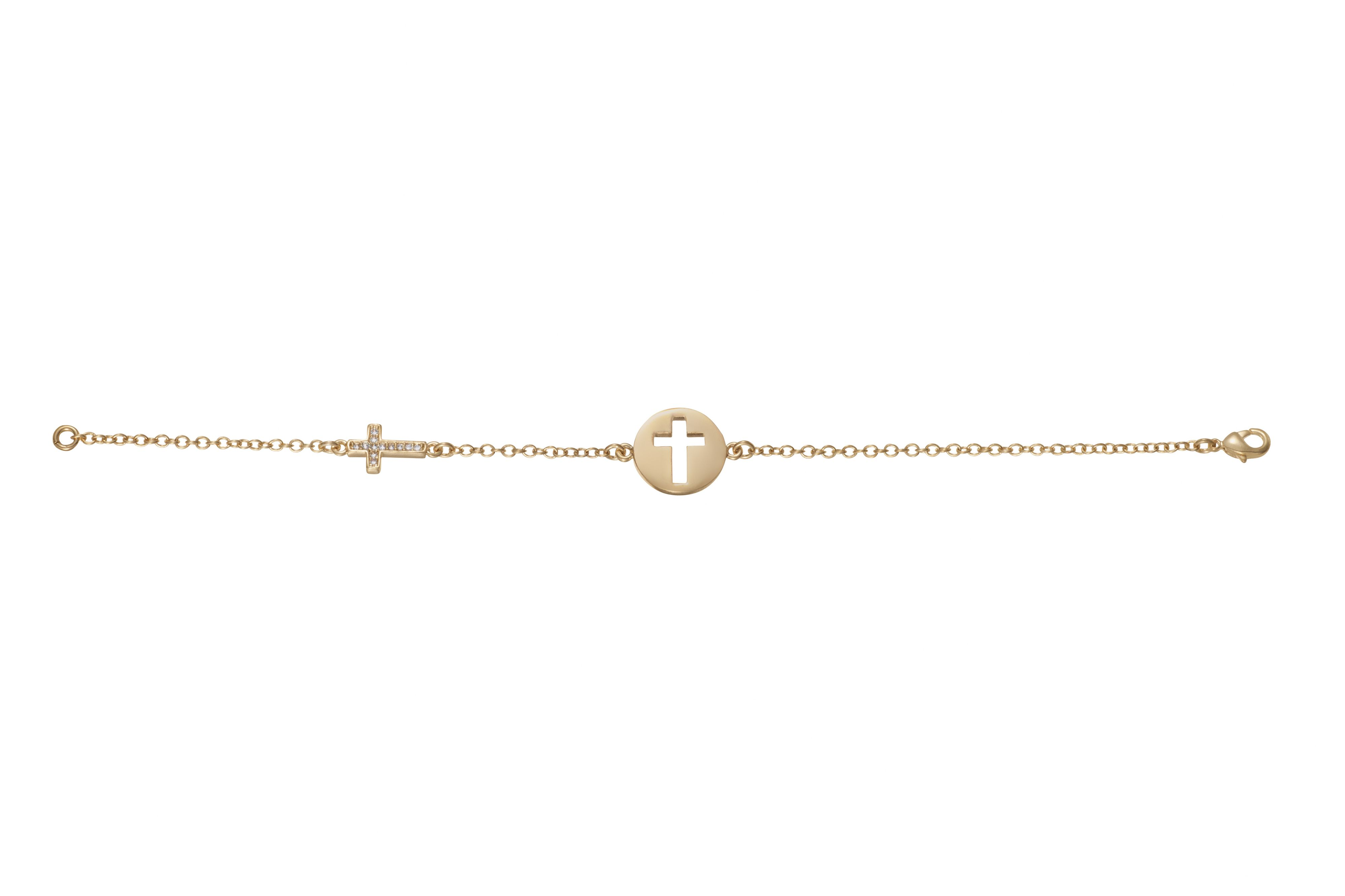 Yellow gold plated cut out cross bracelet