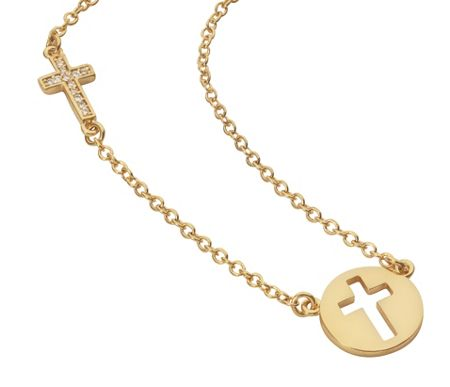 Aurora Flash Yellow gold plated disc cut out cross necklace