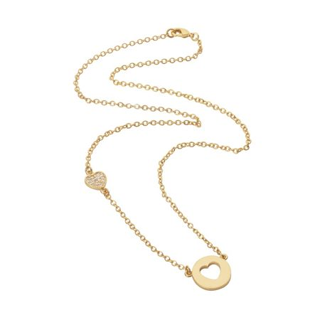 Aurora Flash Yellow gold plated disc cut out heart necklace