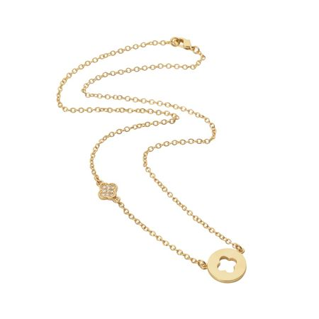 Aurora Flash Yellow gold plated disc cut out flower necklace