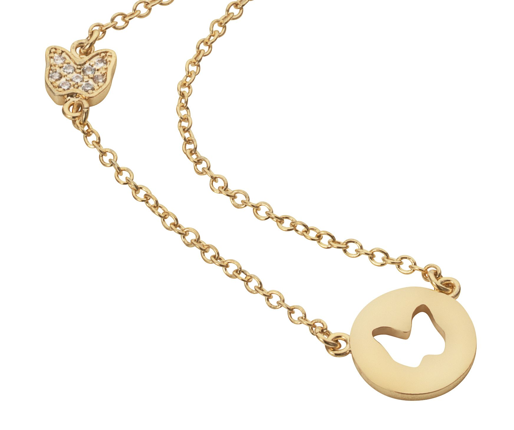Yellow gold plated disc cut out butterfly necklac