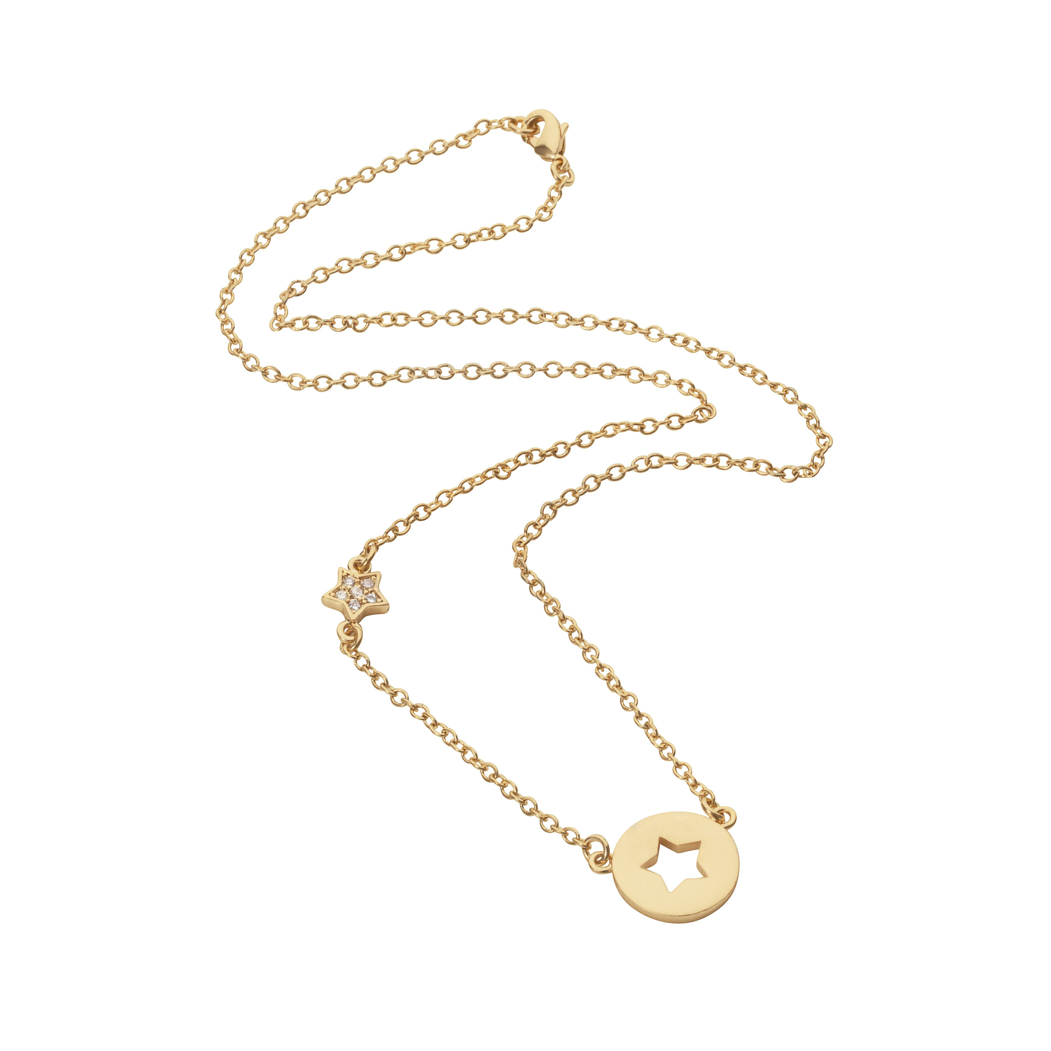 Yellow gold plated disc cut out star necklace
