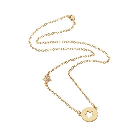 Aurora Flash Yellow gold plated disc cut out star necklace