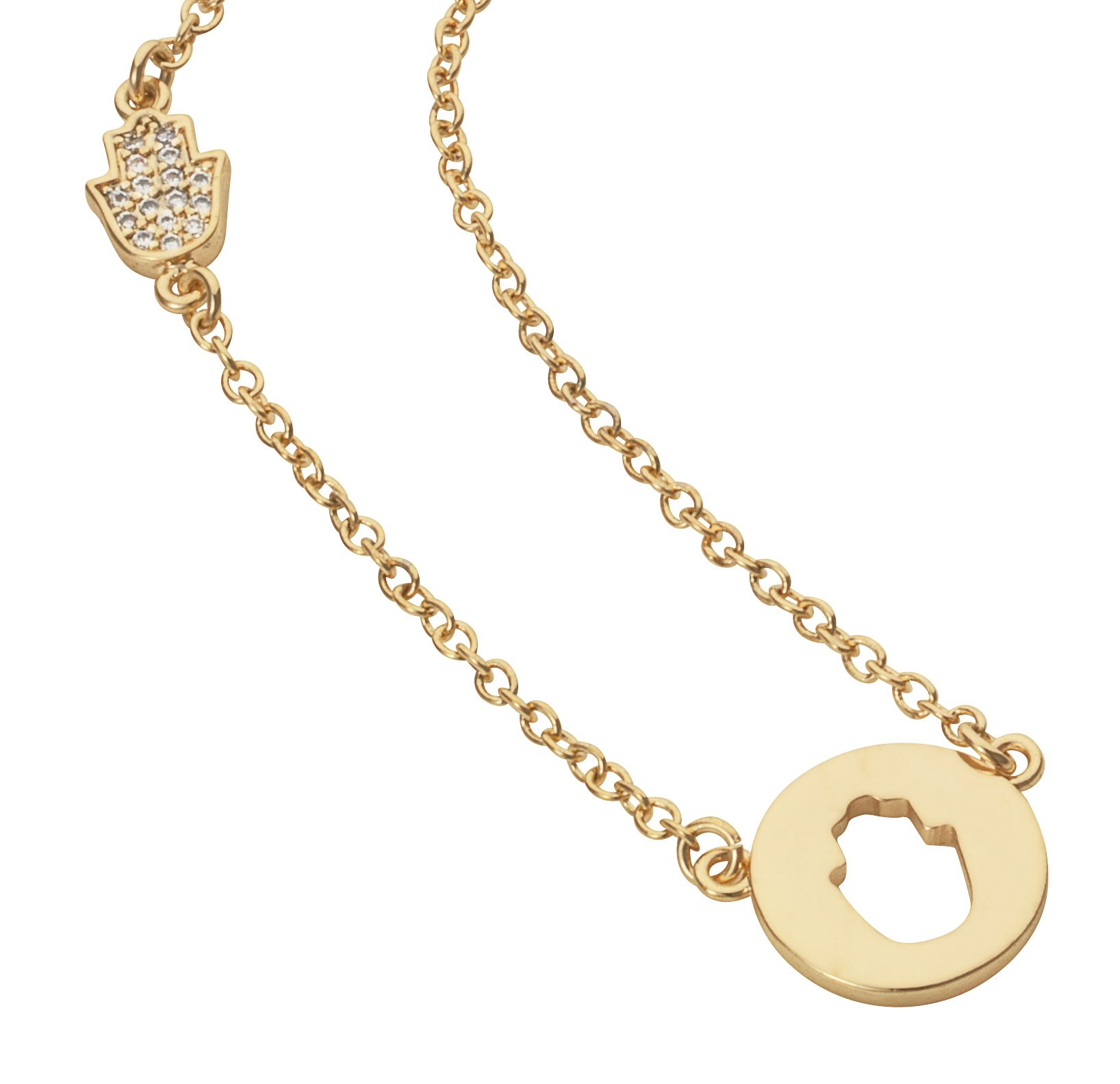 Yellow gold plated disc cut out hand necklace