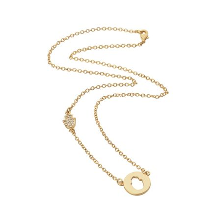 Aurora Flash Yellow gold plated disc cut out hand necklace