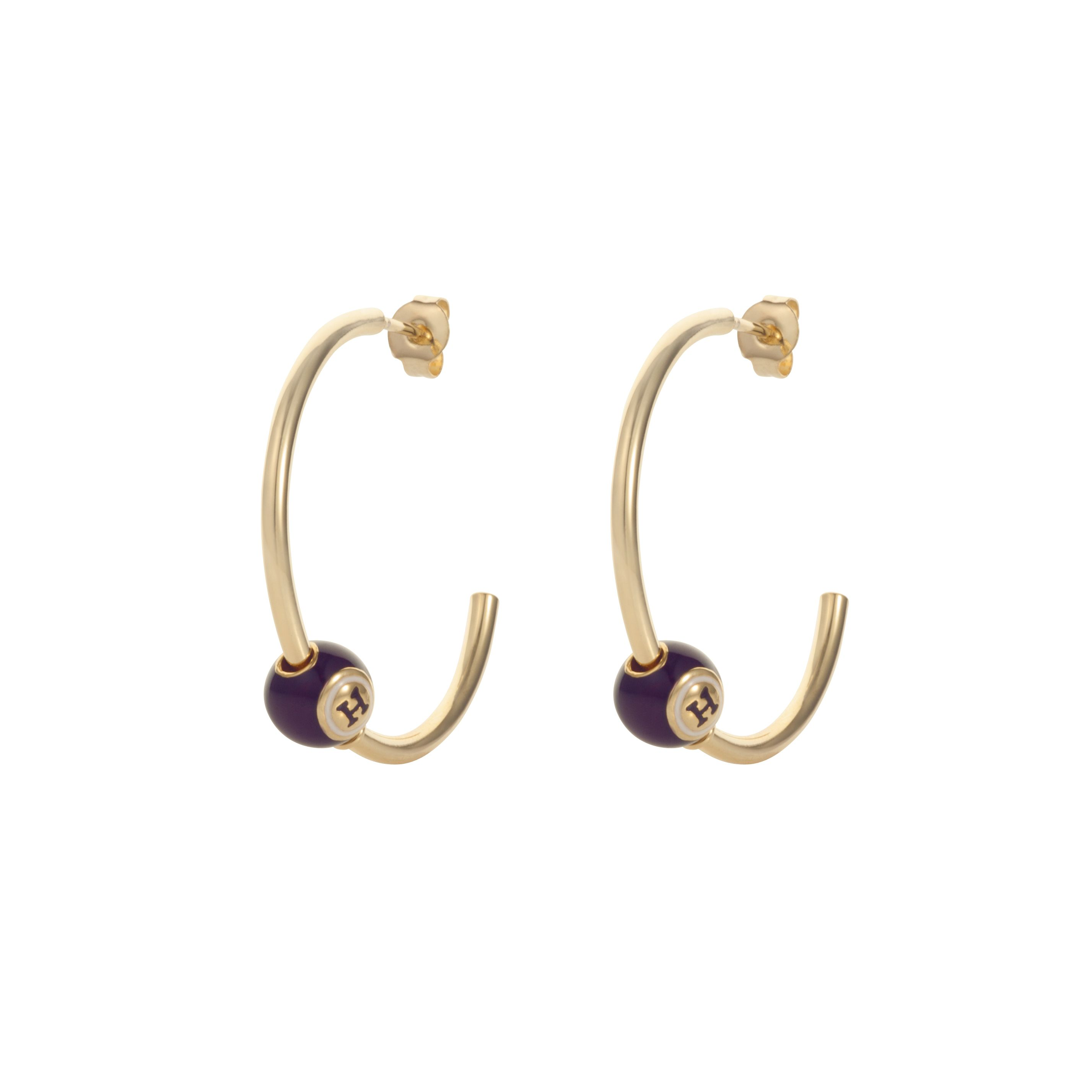 Gold plated black bingo hoop earring