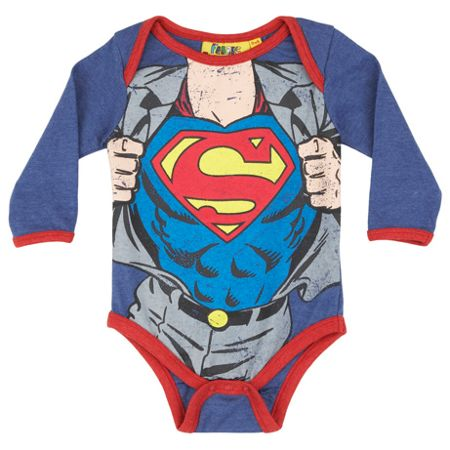 Fabric Flavours Baby Boys Superman Clark Kent Bodysuit