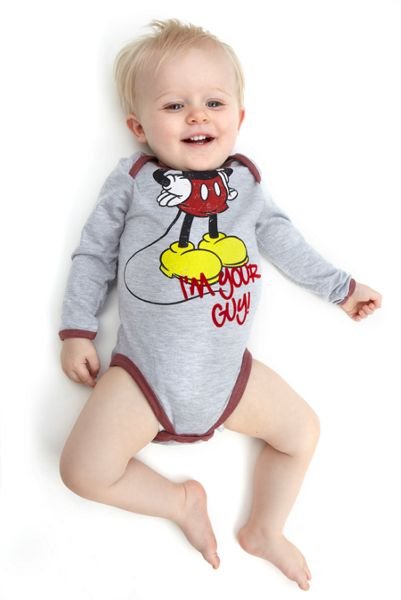 Fabric Flavours Boys Mickey Mouse Headless babygrow