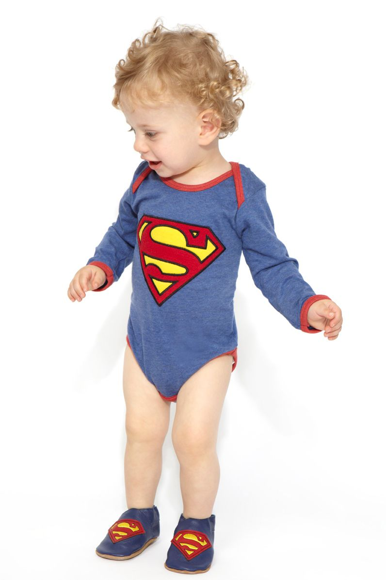 Baby boy`s Superman logo babygrow