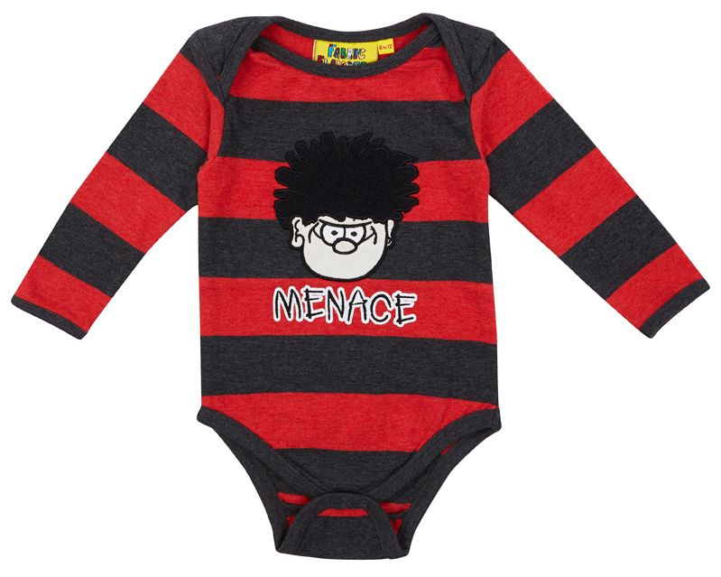 Boys Dennis `Menace` marl stripe babygrow