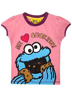 Girls Cookie Monster Heart Cookies T-Shirt